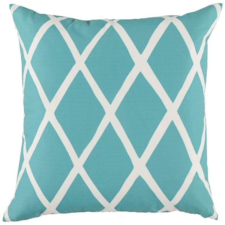 """Wyndham Aquamarine Blue 22"""" Square Decorative Pillow"""