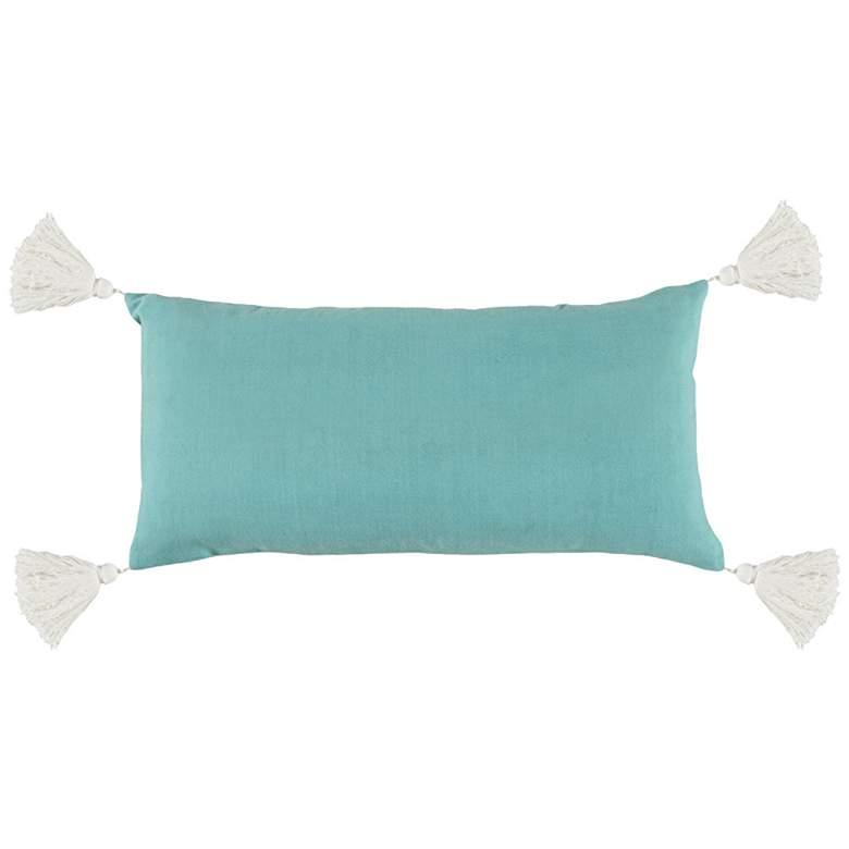 "Linden Aquamarine Blue 24"" x 12"" Decorative Pillow"