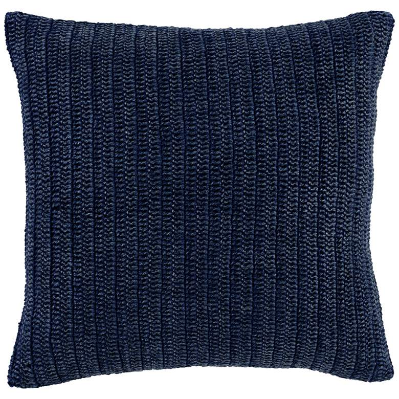"Macie Indigo Hand-Knitted 22"" Square Decorative Pillow"