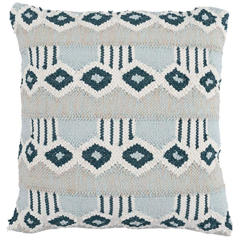 """Nazira Skyblue Multi-Color 22"""" Square Decorative Pillow"""