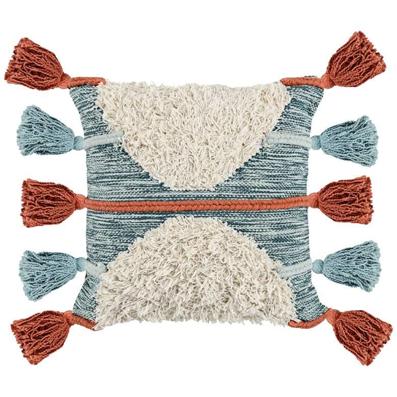 """Emira Skyblue Multi-Color 20"""" Square Decorative Pillow"""