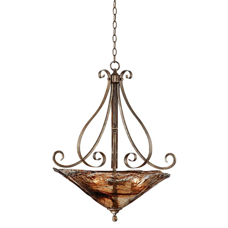"Franklin Iron Works Amber Scroll 24 3/4"" Wide Pendant Light"