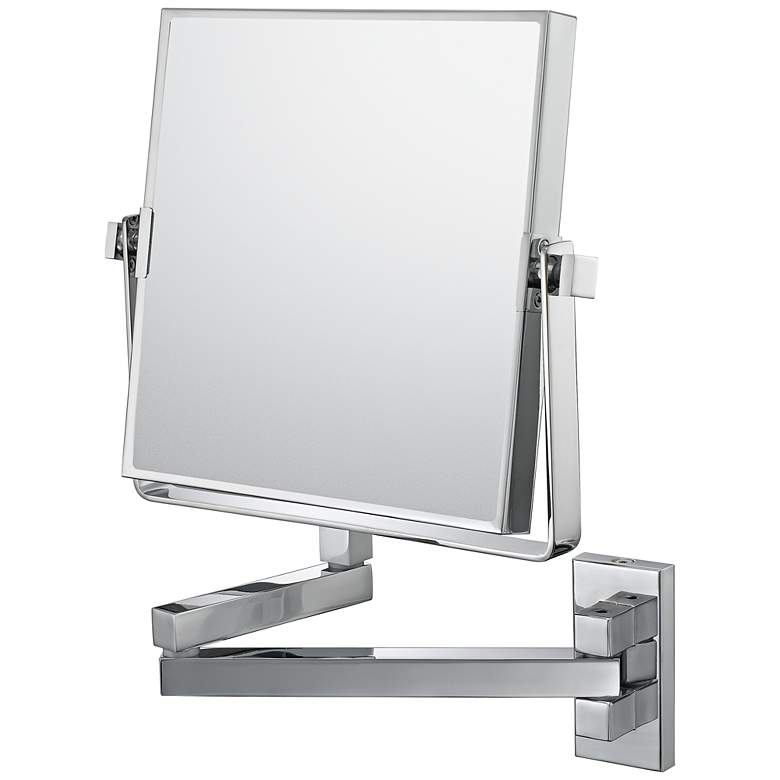 """Aptations Double Arm Chrome Vanity 7 1/2"""" Wide Wall Mirror"""