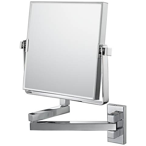 "Aptations Double Arm Chrome Vanity 7 1/2"" Wide Wall Mirror"
