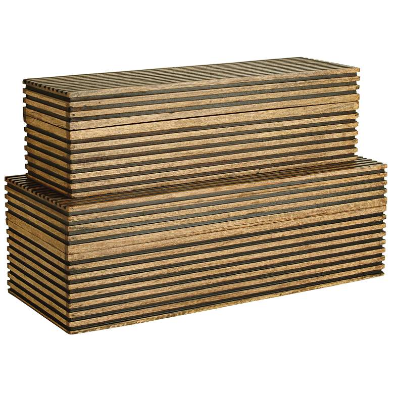 Arteriors Home Trinity Light Brown Wood Boxes Set of 2