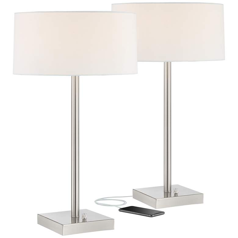 Andre Metal Table Lamps with USB Ports and Outlets Set of 2