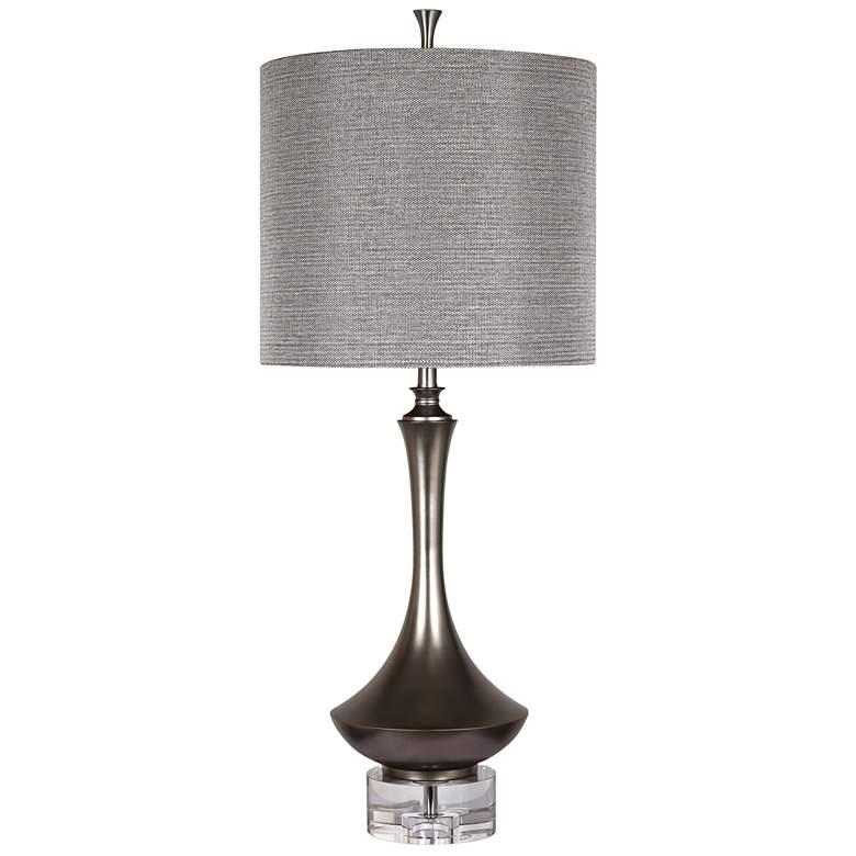 Arlington Charcoal Metal Table Lamp with Crystal Base