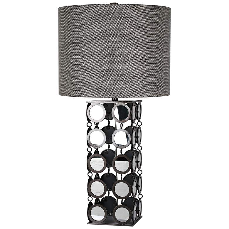 Hyatt Hand-Printed Gunmetal and Mirror Table Lamp