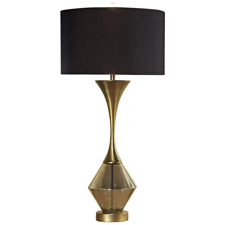 Lucia Matte Antique Brass Table Lamp with Black Shade