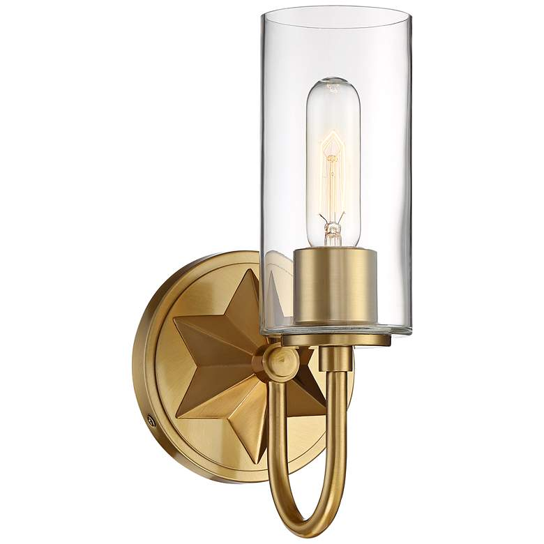 "Possini Euro Casa 12"" High Antique Brass Star Wall Sconce"