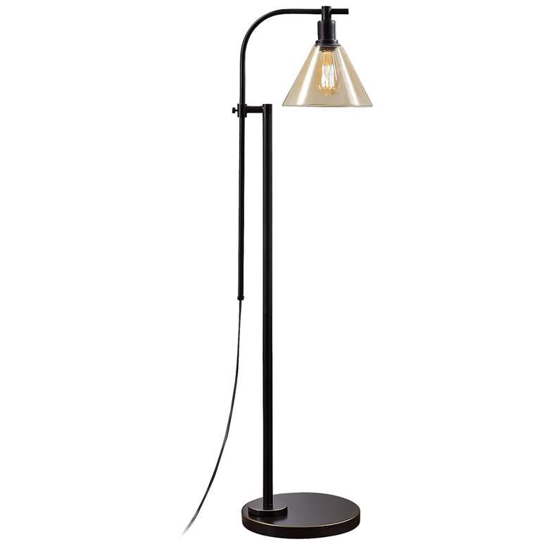 Madison Bronze Downbridge Floor Lamp with Amber Glass Shade