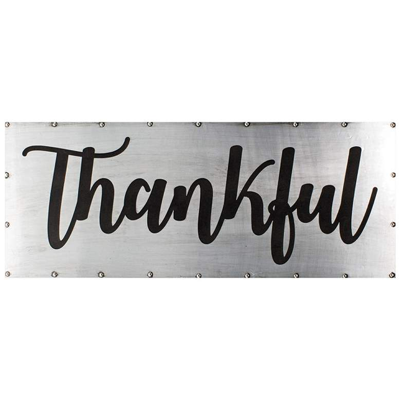 """Thankful 36"""" Wide Black and Gray Metal Wall Art"""