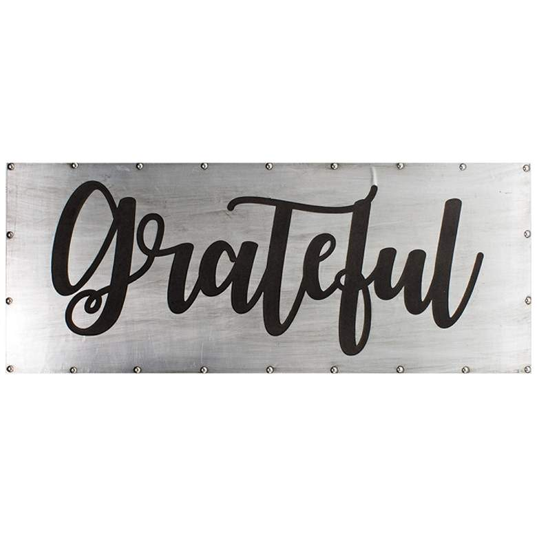 "Grateful 36"" Wide Black and Gray Metal Wall Art"