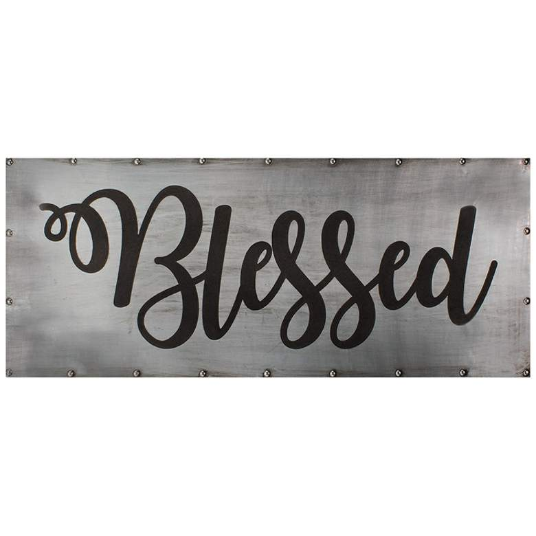 """Blessed 36"""" Wide Black and Gray Metal Wall Art"""