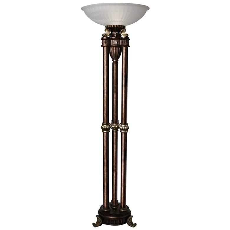 Majestic Gold Torchiere Floor Lamp with Frosted Glass Shade