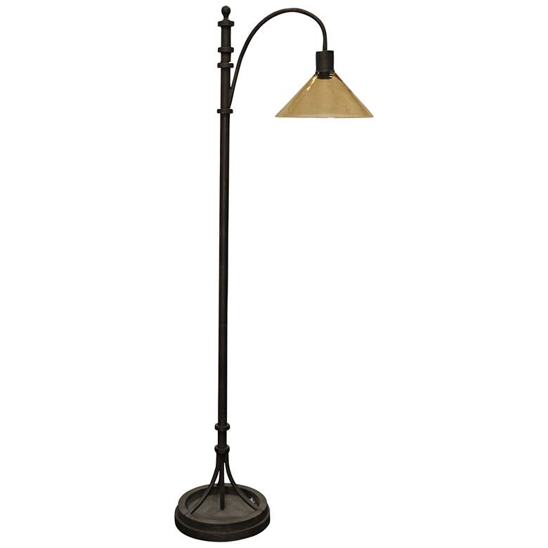 Industrial Bronze Arc Floor Lamp with Dimpled Glass Shade