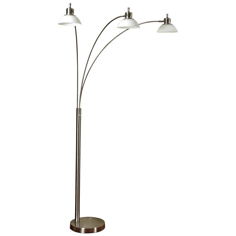 Brushed Steel 3-Light LED Arc Floor Lamp with Glass Shades