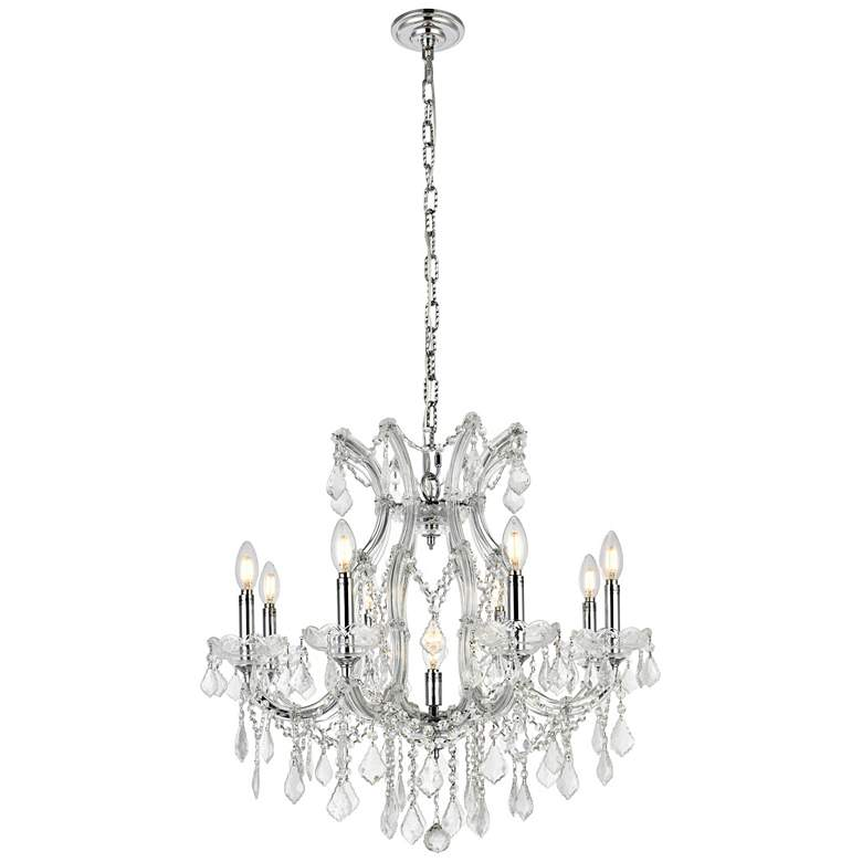 """Maria Theresa 26"""" Wide Chrome and Crystal 9-Light Chandelier"""