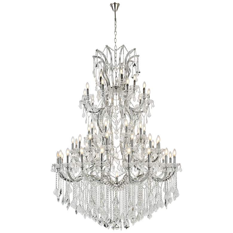 "Maria Theresa 54""W Chrome and Crystal 61-Light Chandelier"