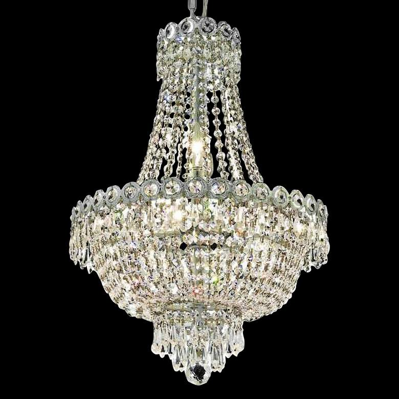 """Century 16"""" Wide Chrome and Crystal 3-Tier Chandelier"""
