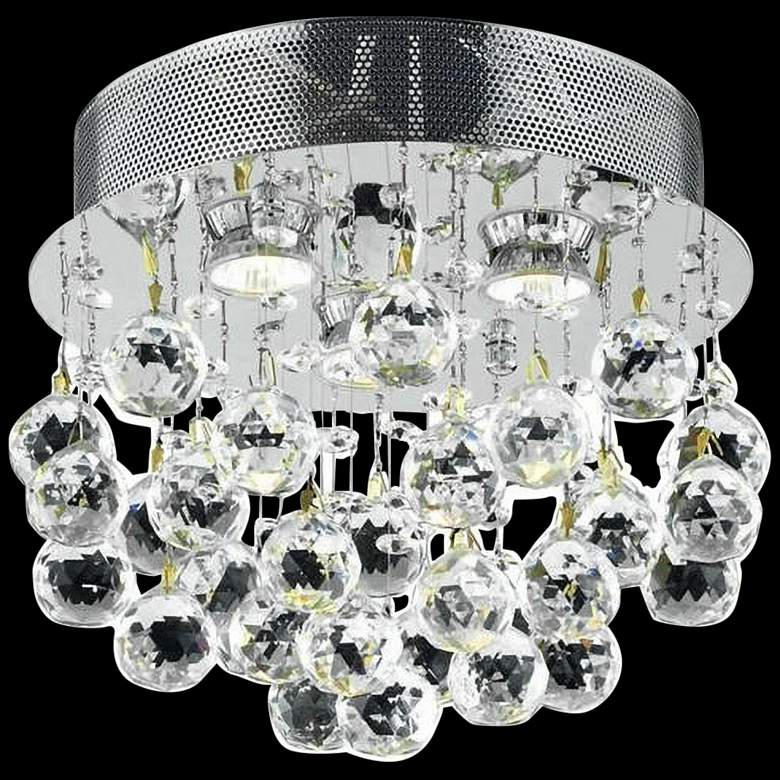 """Galaxy 13"""" Wide Chrome and Clear Crystal Ceiling Light"""