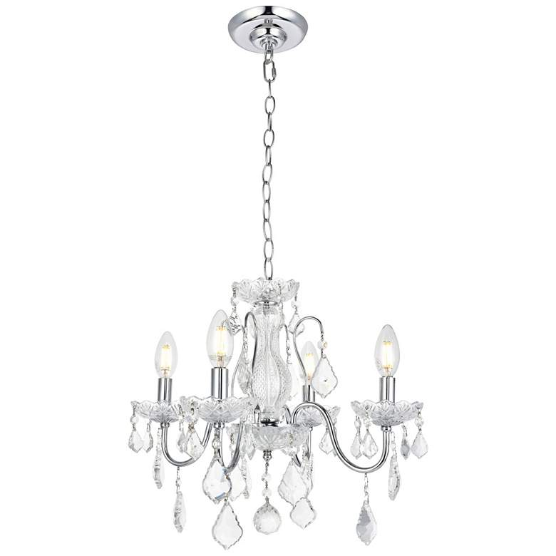 """St. Francis 17"""" Wide Chrome and Crystal 4-Light Chandelier"""