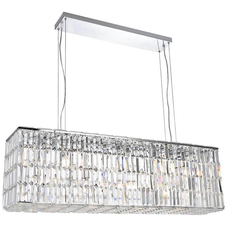 """Maxime 44"""" Wide Chrome and Clear Crystal Island Chandelier"""