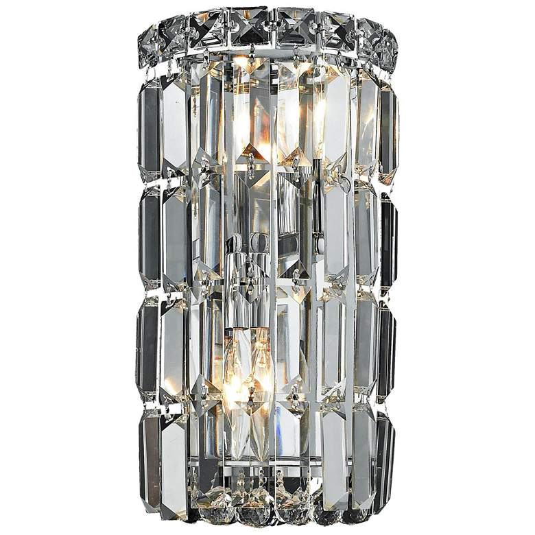 """Maxime 12"""" High Chrome and Clear Crystal Wall Sconce"""