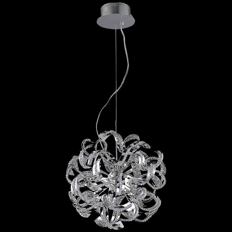"""Tiffany 22"""" Wide Chrome and Clear Crystal Pendant Light"""