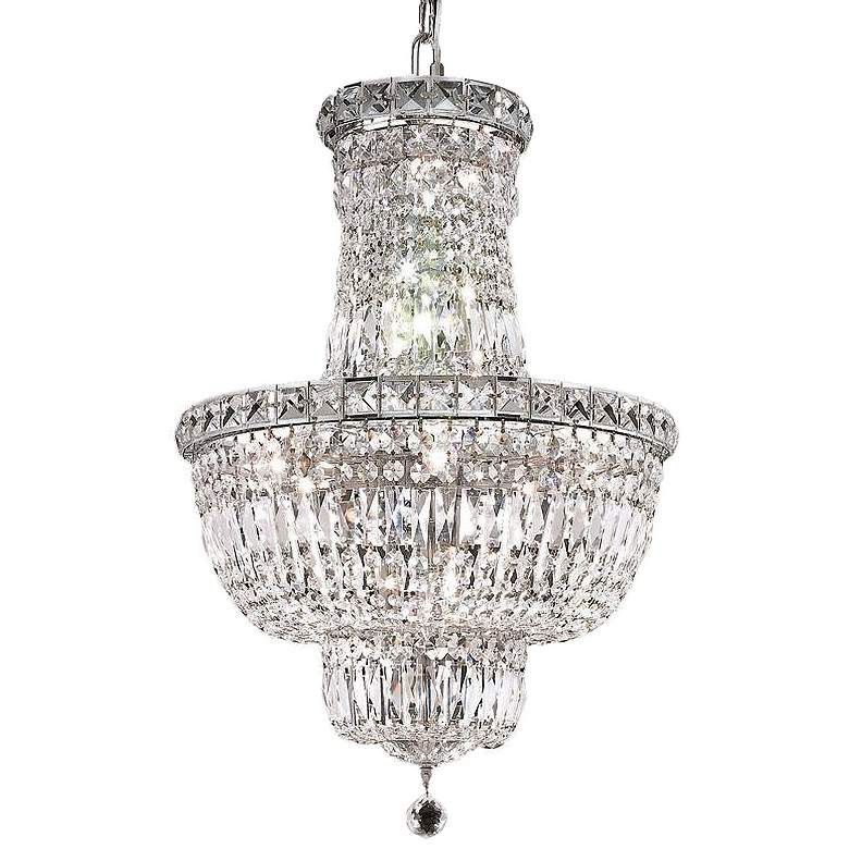 """Tranquil 18"""" Wide Chrome and Clear Crystal 3-Tier Chandelier"""