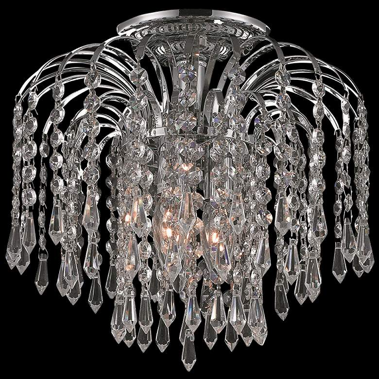 """Falls 12"""" Wide Chrome and Clear Crystal 4-Tier Ceiling Light"""