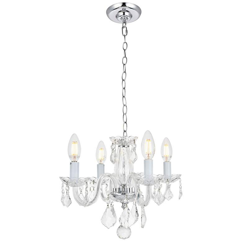 """Rococo 15"""" Wide Chrome and Clear Crystal 4-Light Chandelier"""