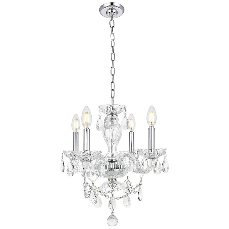 """Princeton 17"""" Wide Chrome and Crystal 4-Light Chandelier"""