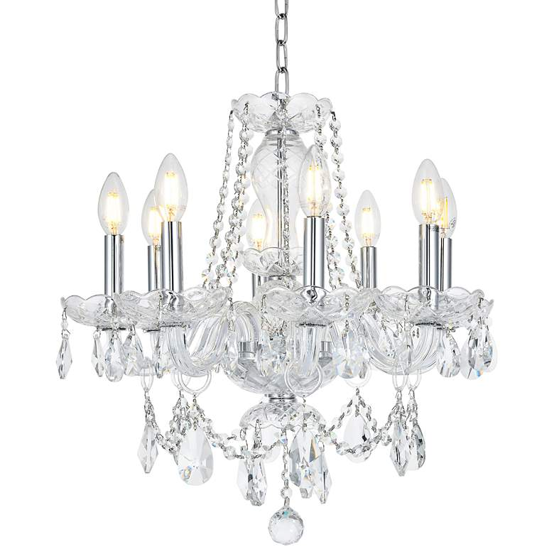 """Princeton 20"""" Wide Chrome and Crystal 8-Light Chandelier"""