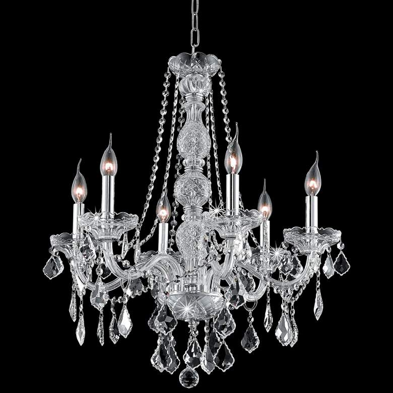 """Verona 24"""" Wide Chrome and Clear Crystal 6-Light Chandelier"""
