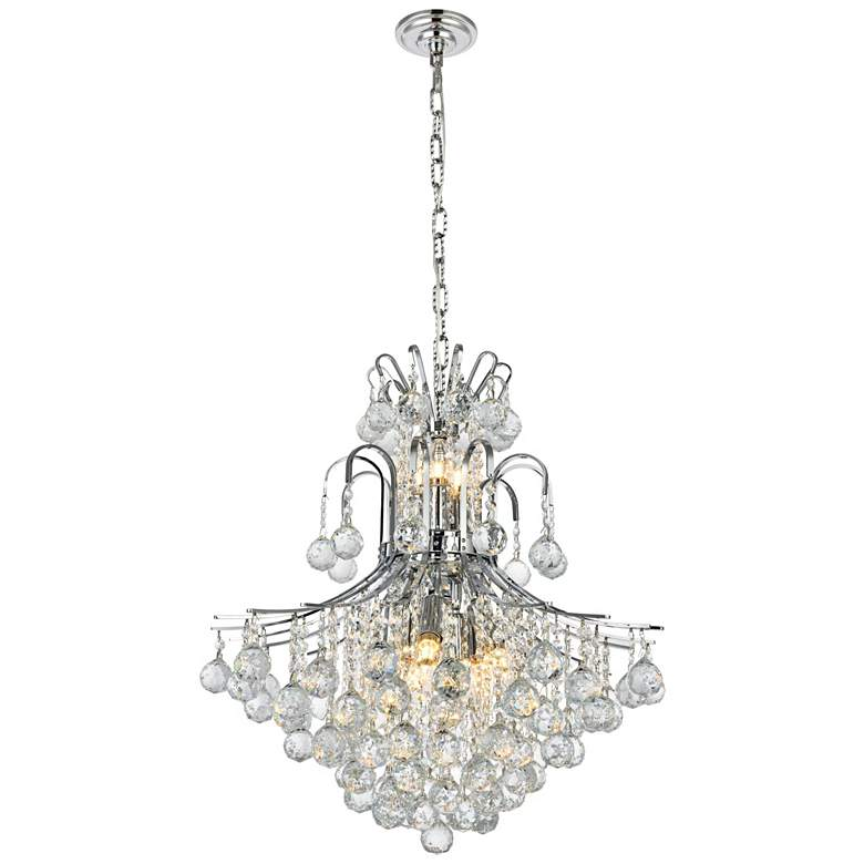 """Toureg 22"""" Wide Chrome and Clear Crystal 2-Tier Chandelier"""