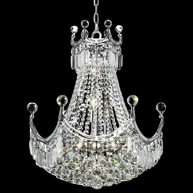 "Corona 20"" Wide Chrome and Clear Crystal 2-Tier Chandelier"