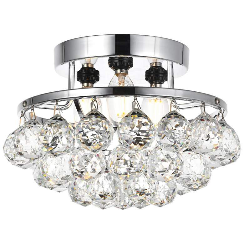 """Corona 10"""" Wide Chrome and Clear Crystal Ceiling Light"""