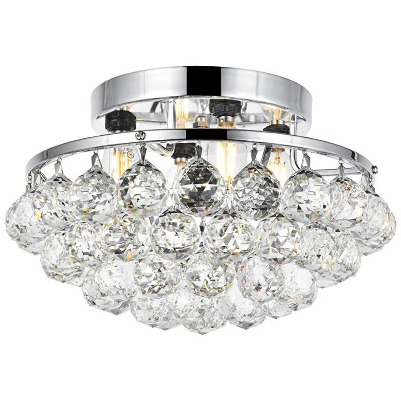 "Corona 14"" Wide Chrome and Clear Crystal Ceiling Light"
