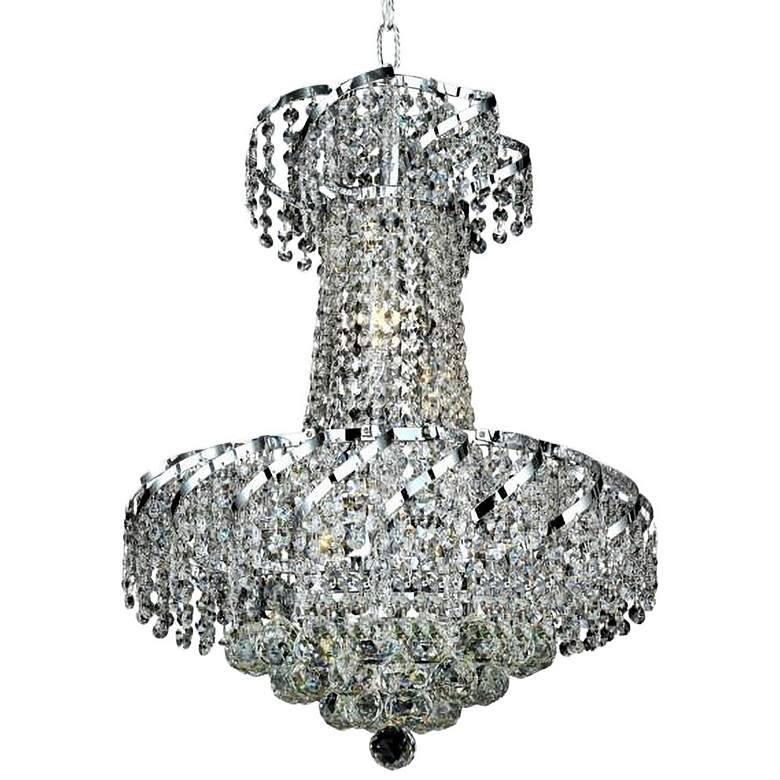 "Belenus 18"" Wide Chrome and Crystal Chandelier"