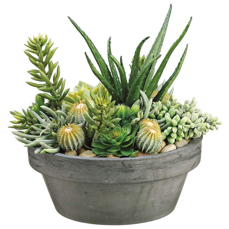 """Green Succulent 15"""" High Faux Plants in Gray Pot"""