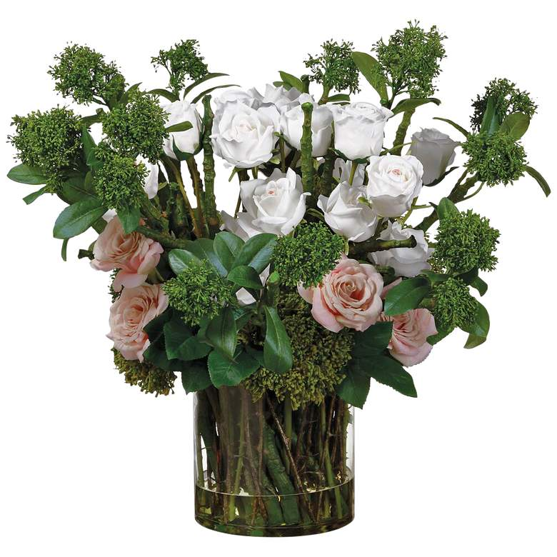 """White Pink Rose and Skimmia 25"""" High Faux Flowers in Vase"""