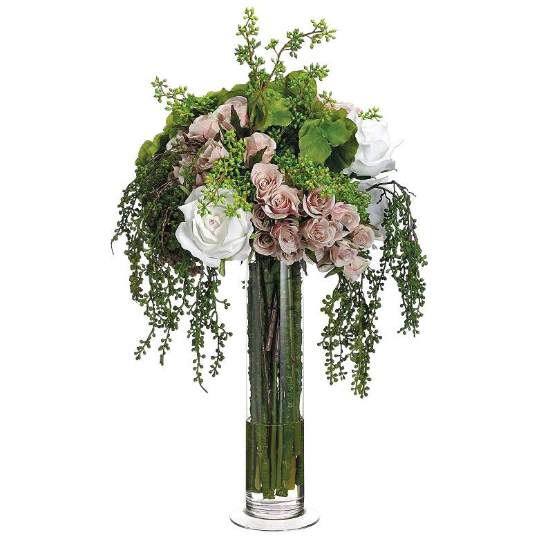 """Green Hydrangea and Pink Rose 23"""" High Faux Floral Bouquet"""