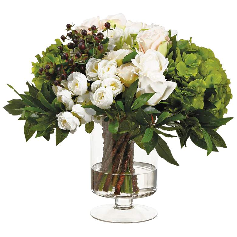 "Blush Cream Ranunculus and Rose 18""H Faux Flowers in Vase"