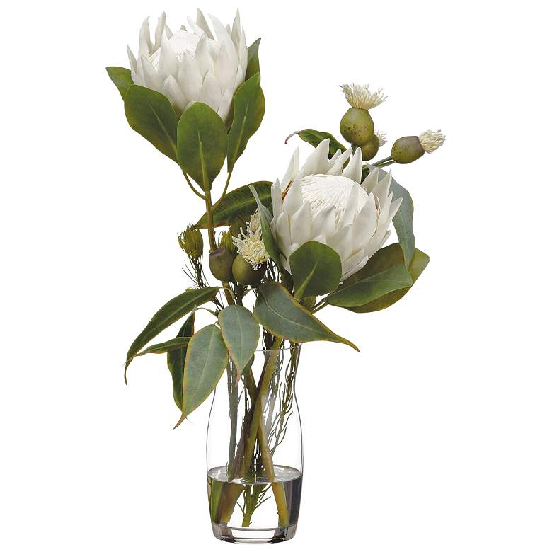 "Cream Protea and Green Eucalyptus 22""H Faux Flowers"