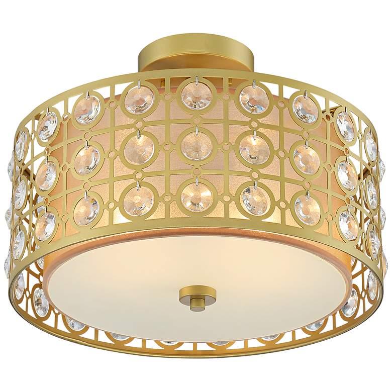 "Saira Crystal 15 1/2"" Wide Warm Brass Ceiling Light"