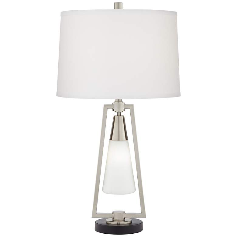 Iso Metal and Glass Lantern Table Lamp with Night Light