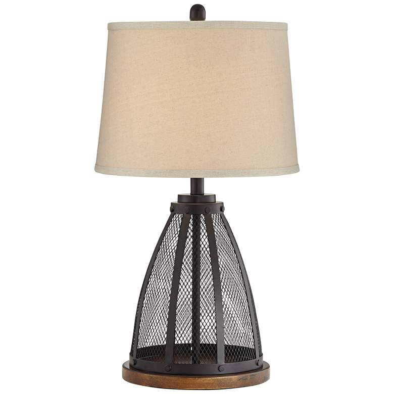 Mansfield Black Metal Mesh Table Lamp