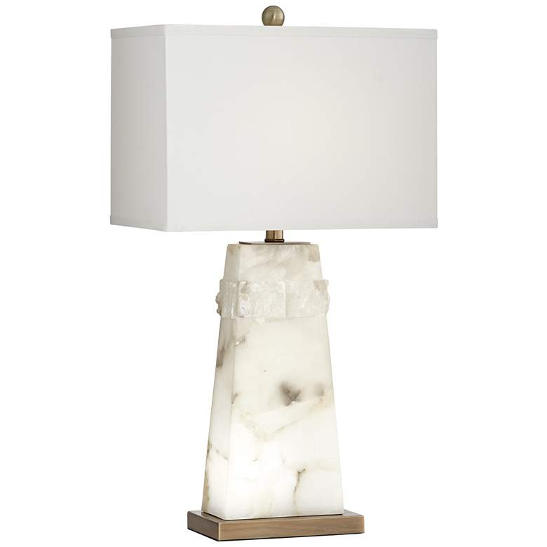 Beaumont White Alabaster Table Lamp with Night Light