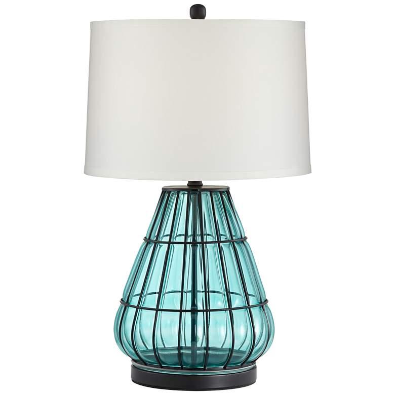 Jaylin Metal Cage and Aqua Glass Table Lamp